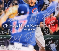 "2016 Cubs LE 22"" x 26"" Custom Framed Photo Display Team-Signed by (20) with Kris Bryant, Anthony Rizzo, Ben Zobrist, Addison Russell, Dexter Fowler (Fanatics & MLB Hologram) at PristineAuction.com"