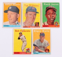 1958 Topps Complete Set of (495) Baseball Cards with #1 Ted Williams, #30 Hank Aaron, #47 Roger Maris RC, #52A Roberto Clemente, #150 Mickey Mantle
