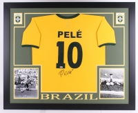 "Pele Signed Brazil 35"" x 43"" Custom Framed Jersey (PSA COA) at PristineAuction.com"