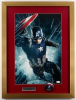 "Stan Lee Signed ""Captain America"" 18x 24 Custom Framed Print Display with Pin (JSA COA)"