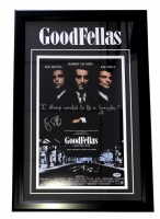 """Ray Liotta Signed """"Goodfellas"""" 18"""" x 26"""" Custom Framed Movie Poster Display Inscribed """"I Always Wanted To Be A Gangster"""" (PSA COA)"""