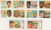1956 Topps Complete Set of (340) Baseball Cards with #135 Mickey Mantle, #5 Ted Williams, #33 Roberto Clemente, #31 Hank Aaron, #79 Sandy Koufax, #130 Willie Mays
