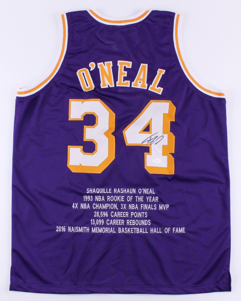 7da06291fcb Shaquille O'Neal Signed Lakers Career Highlight Stat Throwback Jersey (JSA  COA) at