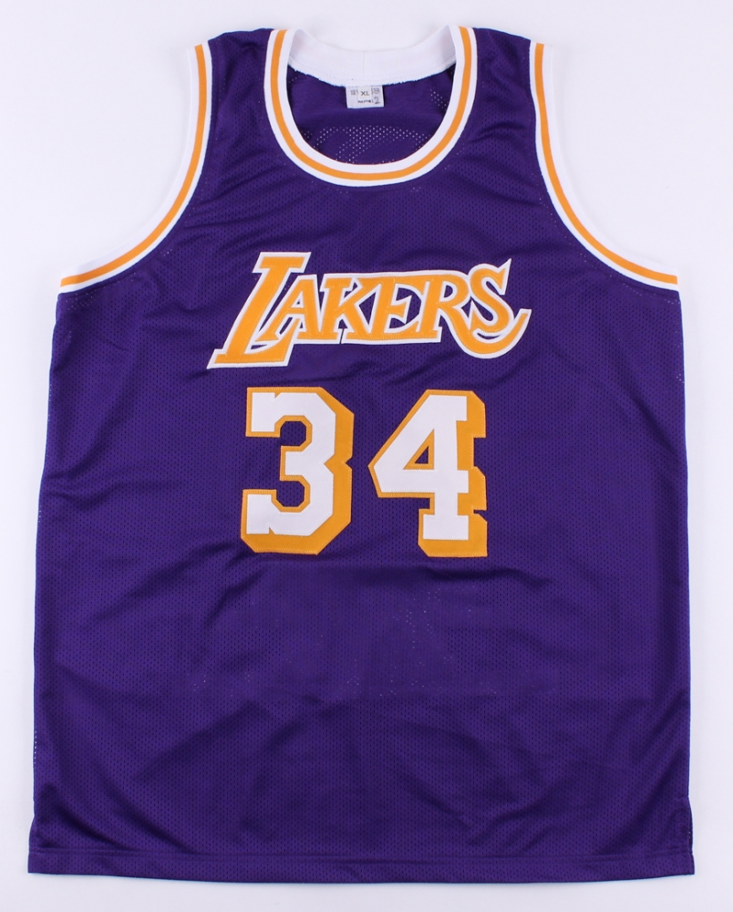 797169b4a21 Shaquille O Neal Signed Lakers Career Highlight Stat Throwback Jersey (JSA  COA) at