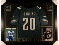 "Brian Dawkins Signed Eagles 35"" x 43"" Custom Framed Jersey Display (JSA COA)"
