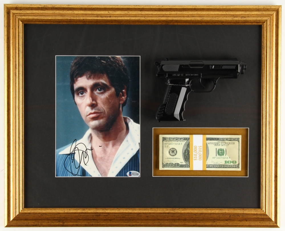 Online sports memorabilia auction pristine auction al pacino signed scarface 1675 x 2075 custom framed display with movie jeuxipadfo Images