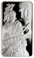 10 oz Bullion .999 Fine Silver Statue of Freedom Design Prooflike Bar (Brilliant Uncirculated)