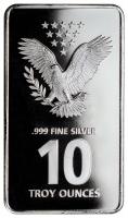 10 oz Bullion .999 Fine Silver Statue of Freedom Design Prooflike Bar (Brilliant Uncirculated) at PristineAuction.com