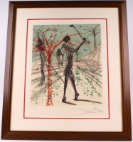 "Salvador Dali Signed ""The Golfer"" 28x33 LE 1979 Custom Framed Lithograph (JSA ALOA)"
