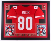"""Jerry Rice Signed 49ers 35"""" x 43"""" Custom Framed Jersey (PSA COA) (Imperfect)"""