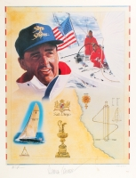 """Dennis Conner Signed """"The American Yachtsman"""" LE 19.5"""" x 25"""" Lithograph (Gallen Sports Productions COA)"""