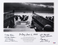 D-Day 1944 11x14 Photo Signed by (8) with Bud Anderson, Simon Velasquez, George Perrine, Martin Fleisher, Art Staymates, George Klein (PSA LOA) at PristineAuction.com