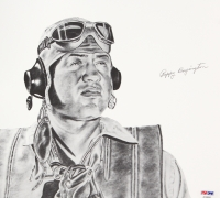 Pappy Boyington Signed 10x11 Lithograph (PSA LOA)