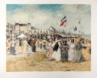 """Patrick Ryan Signed """"Beach at Trouville"""" 36"""" x 30"""" Limited Edition Serigraph (PA LOA)"""