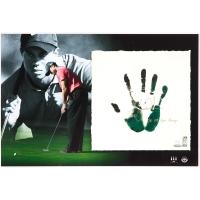 "Tiger Woods Signed 20x28 Custom Framed Tegata Lithograph Display Inscribed ""08 U.S. Open Champ"" (UDA COA) at PristineAuction.com"