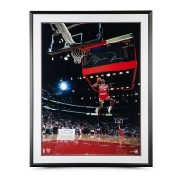 "Michael Jordan Signed Chicago Bulls ""1988 Scoreboard Dunk"" 30x40 Custom Framed Photo (UDA COA)"