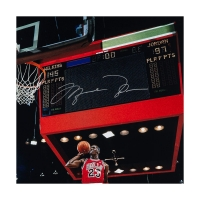 "Michael Jordan Signed Chicago Bulls ""1988 Scoreboard Dunk"" 30x40 Custom Framed Photo (UDA COA) at PristineAuction.com"