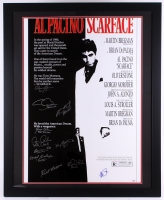 "Cast-Signed ""Scarface"" 35"" x 43"" Custom Framed Movie Poster Display with (11) Signatures Including Al Pacino, Steven Bauer, Miriam Colon, Caeser Cordova, Dennis Holahan, Robert Loggia, Mark Margolis (PSA COA)"