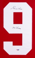 """Gordie Howe Signed Red Wings 35x43 Custom Framed Jersey Inscribed """"Mr. Hockey"""" (PSA COA) at PristineAuction.com"""