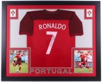 """Cristiano Ronaldo Signed Portugal 35"""" x 43"""" Custom Framed Jersey (PSA COA)"""