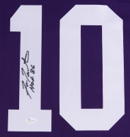 "Fran Tarkenton Signed Vikings 35x43 Custom Framed Jersey Inscribed ""HOF 86"" (JSA COA) at PristineAuction.com"
