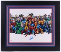 """Stan Lee Signed Marvel 27.5"""" x 23.5"""" Custom Framed Photo (PSA COA)"""