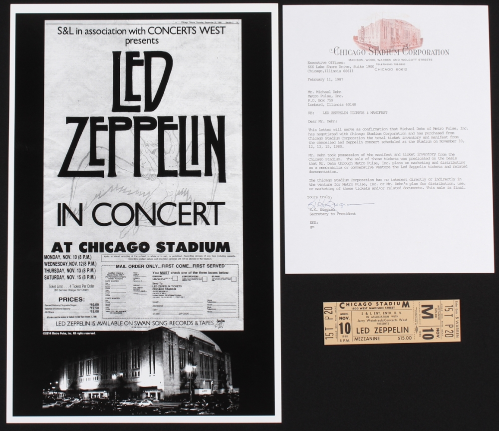 lot of 2 led zeppelin concert items with 1 concert ticket 1 11x17 concert poster print. Black Bedroom Furniture Sets. Home Design Ideas