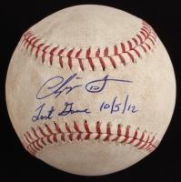 """Chipper Jones Signed Game-Used 2012 Postseason Baseball Inscribed """"Last Game 10/5/12"""" (PSA COA & MLB Hologram)"""