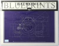 Collection of (4) Batman Batmobile 1992 LE 11x14 Blueprints from Original DC Comics Schematics (Batman Hologram)