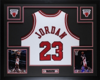 "Michael Jordan Signed Bulls 35"" x 43"" Custom Framed Jersey (UDA COA) at PristineAuction.com"