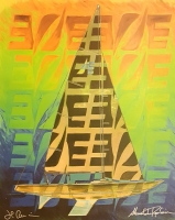 "Alexandre Renoir & Emmanuel Renoir Signed ""Sailboat"" 2005 Collaborative Gouache on Archival Paper (PA LOA)"