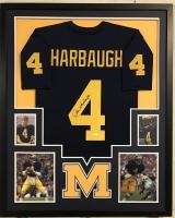 "Jim Harbaugh Signed Michigan Wolverines 34"" x 42"" Custom Framed Jersey (JSA COA)"