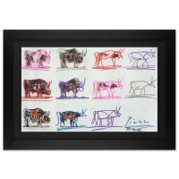 """Ringo Signed """"Eleven Bulls"""" Limited Edition 14x20 Custom Framed Canvas #3/50 at PristineAuction.com"""
