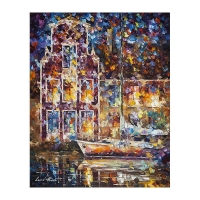 "Leonid Afremov Signed ""Docks At Night"" 24x30 Original Oil Painting on Canvas."