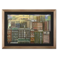 "Alex Zwarenstein Signed ""Manhattan Sunrise"" 26x36 Custom Framed Original Oil Painting on Canvas"