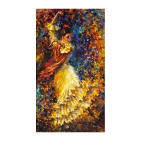 "Leonid Afremov Signed ""Flamenco And Fire"" 32x57 Original Oil Painting on Canvas"