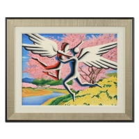 "Mark Kostabi Signed ""Euphoric Day"" 25x31 Custom Framed Original Painting on Canvas"