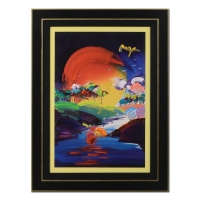 "Peter Max Signed ""Without Borders"" 36x48 Custom Framed One-Of-A-Kind Acrylic Mixed Media"