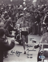 Bill Rogers Signed Boston Marathon 8x10 Photo With Extensive Inscription (Beckett COA)