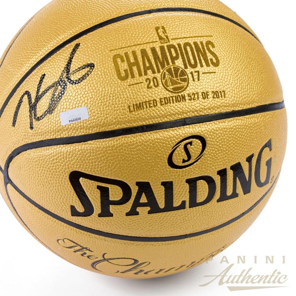 abfbb58203c Kevin Durant Signed Warriors LE 2017 NBA Finals Champions Gold Logo  Basketball (Panini COA)