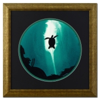 "Wyland ""Turtle"" Signed Original Watercolor on 19"" Round Deckle-Edge Paper (Custom Framed to 30.5"" x 30.5"")"