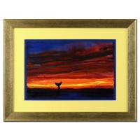 "Wyland ""Sunset with Whale Tail"" Signed Original 23"" x 15""  Watercolor on Deckle-Edge Paper (Custom Framed to 35"" x 26.5"")"