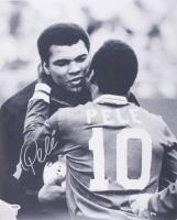Pele Signed Cosmos 16x20 Photo with Muhammad Ali (PSA Hologram)
