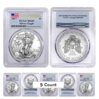 Lot of (5) 2017 1 oz Silver American Eagle $1 Coins - First Strike (Flag Label) (PCGS MS 69)
