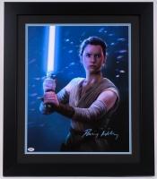 "Daisy Ridley Signed Rey ""Star Wars: The Force Awakens"" 23.5"" x 27.5"" Custom Framed Art Print on Canvas (PSA COA)"