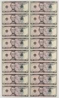 Uncut Sheet of (16) 2013 $5 Bills