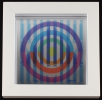 "Yaacov Agam Signed 1980 AP 13x13 ""Vision of Hope"" Serigraph on Mirror (PA LOA)"