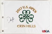 Dustin Johnson Signed 2017 U.S. Open Erin Hills 13.5x20 Pin Flag (JSA COA)