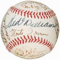 HOF Baseball Signed by (26) with Ted Williams, Stan Musial, Yogi Berra, Johnny Bench, Eddie Mathews, Pee Wee Reese, Johnny Mize, Enos Slaughter (JSA ALOA)