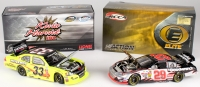 Lot of (2) Kevin Harvick NASCAR 1:24 Action Die Cast Cars with (1) Signed #33 Reheem Menards 11 Impala & #29 GM Goodwrench 2004 Monte Carlo Elite (JSA COA)